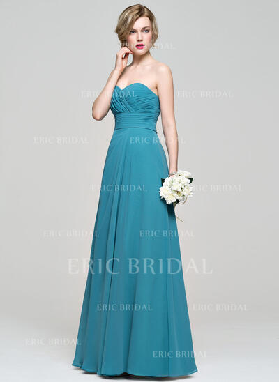 A-Line/Princess Sweetheart Floor-Length Chiffon Bridesmaid Dress With Ruffle (007083683)