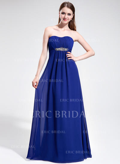 Empire Sweetheart Sweep Train Prom Dresses With Ruffle Beading (018025595)