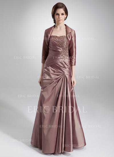 A-Line/Princess Sweetheart Floor-Length Mother of the Bride Dresses With Ruffle Lace Beading (008211211)