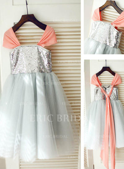 A-Line/Princess Square Neckline Knee-length With Pleated Tulle/Sequined Flower Girl Dresses (010211974)