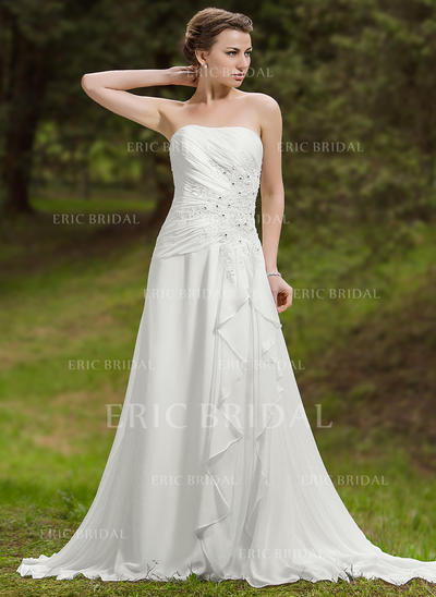 A-Line/Princess Sweetheart Chapel Train Wedding Dresses With Beading Appliques Lace Cascading Ruffles (002211306)