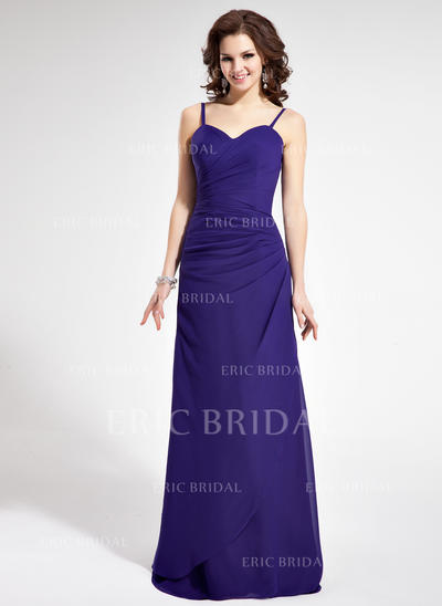 Sheath/Column Sweetheart Floor-Length Bridesmaid Dresses With Ruffle (007021815)
