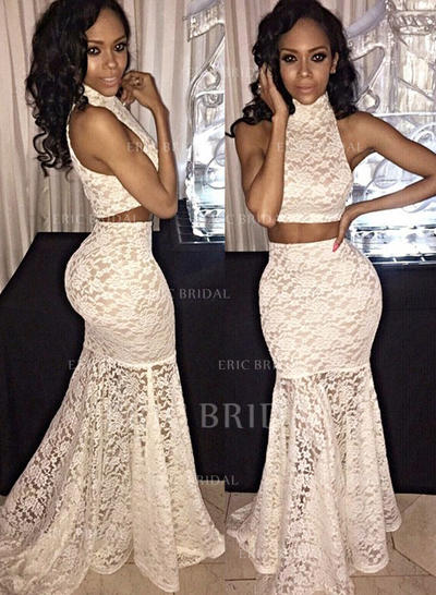 Trumpet/Mermaid Lace Prom Dresses High Neck Sleeveless Sweep Train Detachable (018210362)