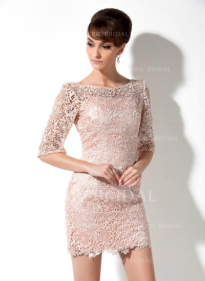 Sheath/Column Lace 3/4 Sleeves Scoop Neck Short/Mini Zipper Up Mother of the Bride Dresses (008006235)