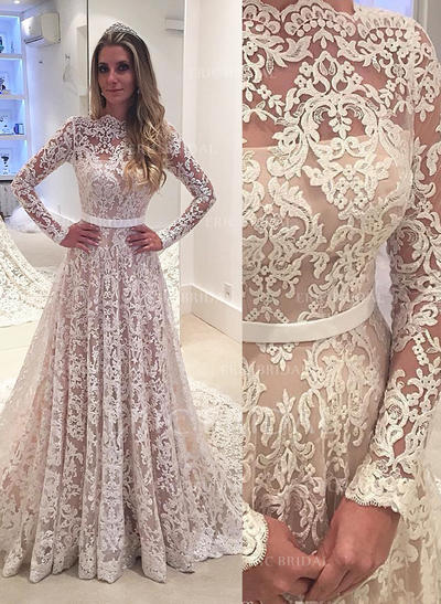 Simple Scalloped-Edge A-Line/Princess Wedding Dresses Court Train Lace Long Sleeves (002148242)