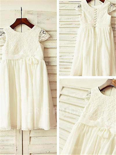 A-Line/Princess Scoop Neck Tea-length With Lace/Pleated Chiffon Flower Girl Dresses (010211996)