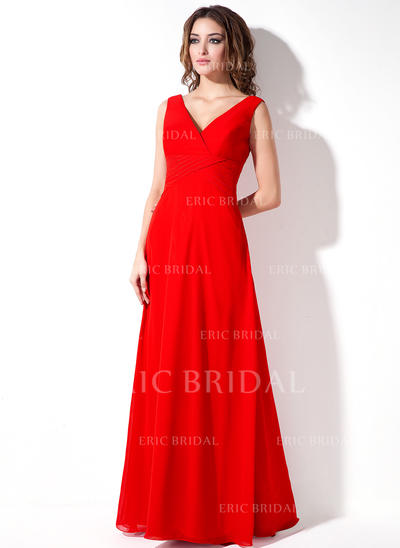 A-Line/Princess Chiffon Bridesmaid Dresses Ruffle V-neck Sleeveless Floor-Length (007001861)