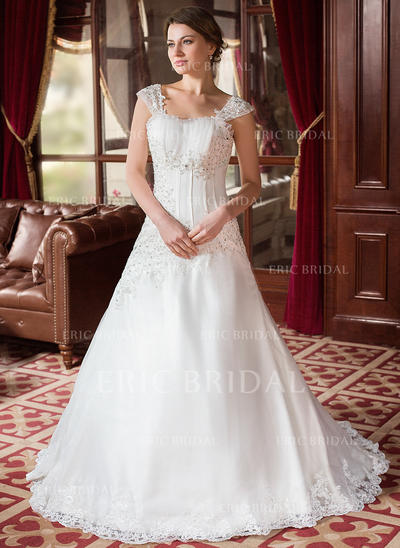 A-Line/Princess Square Court Train Wedding Dresses With Ruffle Beading Appliques (002000152)