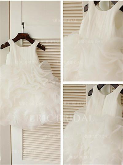 Ball Gown Scoop Neck Knee-length With Ruffles Organza Flower Girl Dresses (010211861)