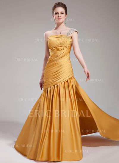 Trumpet/Mermaid One-Shoulder Court Train Evening Dresses With Ruffle Beading Split Front (017019748)