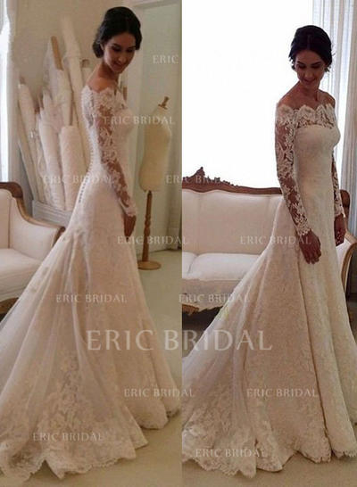 Trumpet Mermaid Tulle Lace Long Sleeves Off The Shoulder Chapel Train Wedding Dresses 002146273