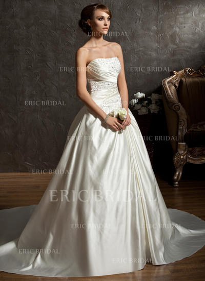 Ball-Gown Sweetheart Chapel Train Wedding Dresses With Ruffle Beading (002196846)