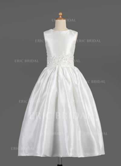 Newest Scoop Neck A-Line/Princess Flower Girl Dresses Ankle-length Taffeta Sleeveless (010014609)