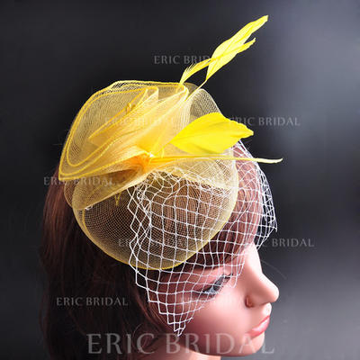 """Hats Wedding/Special Occasion/Party Feather/Cotton 7.09""""(Approx.18cm) 7.09""""(Approx.18cm) Headpieces (042155452)"""