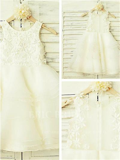 A-Line/Princess Scoop Neck Tea-length With Appliques Organza/Tulle Flower Girl Dresses (010211883)