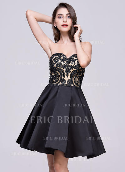 A-Line/Princess Sweetheart Short/Mini Homecoming Dresses With Bow(s) (022068057)