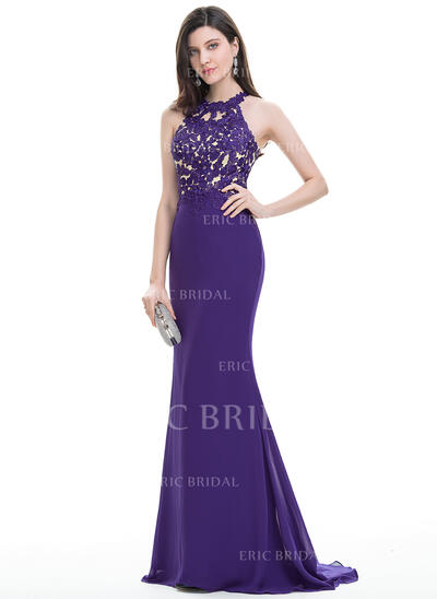 Trumpet/Mermaid Scoop Neck Sweep Train Chiffon Evening Dress (017105894)