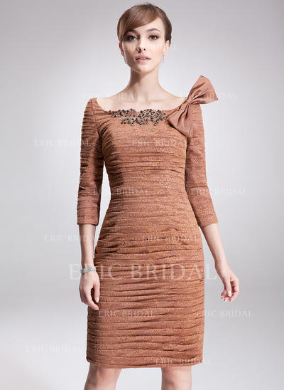 Sheath/Column Lace 3/4 Sleeves Off-the-Shoulder Knee-Length Zipper Up Mother of the Bride Dresses (008006003)