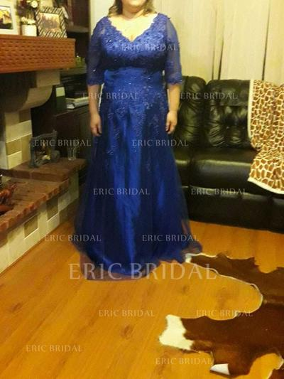 A-Line/Princess Tulle 1/2 Sleeves V-neck Sweep Train Zipper Up Mother of the Bride Dresses (008212762)