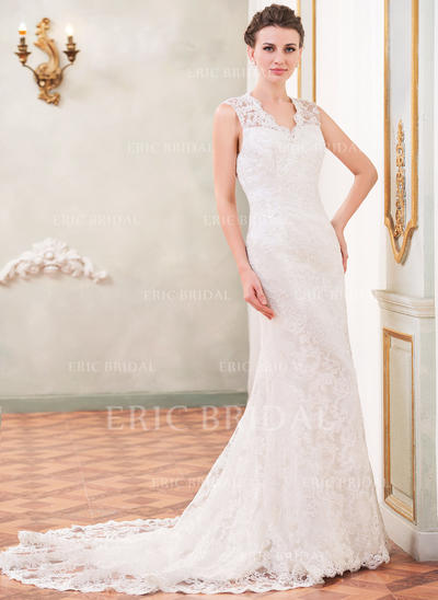 Trumpet/Mermaid Sweetheart Chapel Train Wedding Dresses With Beading Sequins (002210572)