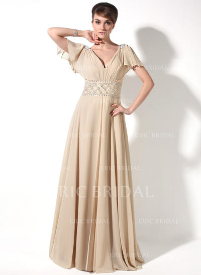 A-Line/Princess Chiffon Short Sleeves V-neck Floor-Length Zipper Up Mother of the Bride Dresses (008211220)