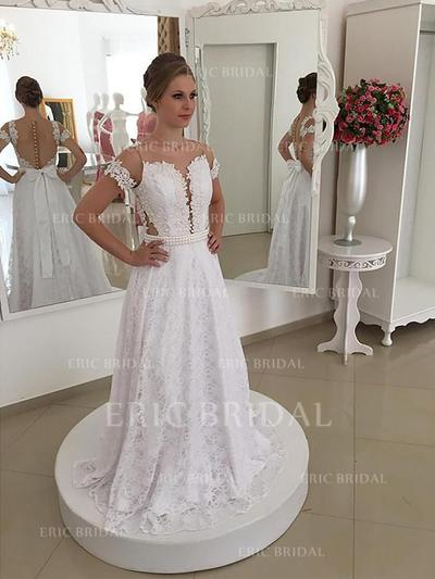 A-Line/Princess Lace Short Sleeves Scoop Sweep Train Wedding Dresses (002147978)
