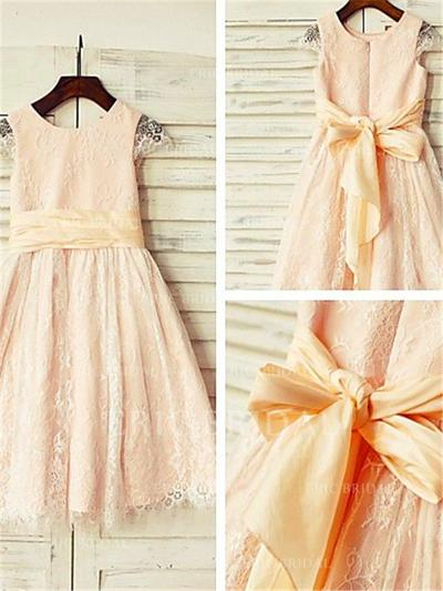 A-Line/Princess Scoop Neck Tea-length With Sash Lace Flower Girl Dresses (010212011)
