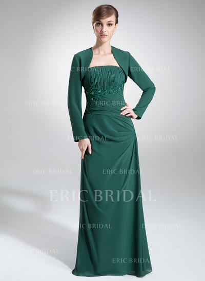 A-Line/Princess Chiffon Sleeveless Strapless Floor-Length Zipper Up Mother of the Bride Dresses (008211221)