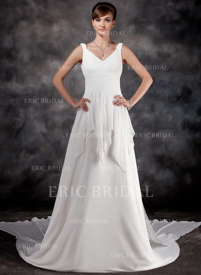 A-Line/Princess Sweetheart Watteau Train Wedding Dresses With Ruffle (002000565)