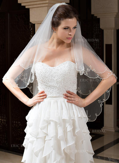 Fingertip Bridal Veils Tulle Two-tier Classic With Beaded Edge Wedding Veils (006151455)