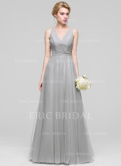 A-Line/Princess V-neck Floor-Length Tulle Evening Dress With Ruffle Beading (017096357)