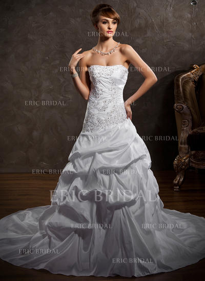 Stunning Strapless A-Line/Princess Wedding Dresses Cathedral Train Taffeta Sleeveless (002196880)