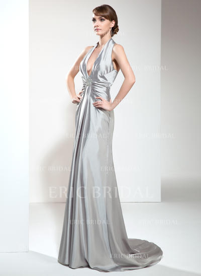 A-Line/Princess Halter Sweep Train Evening Dresses With Ruffle Beading (017020665)