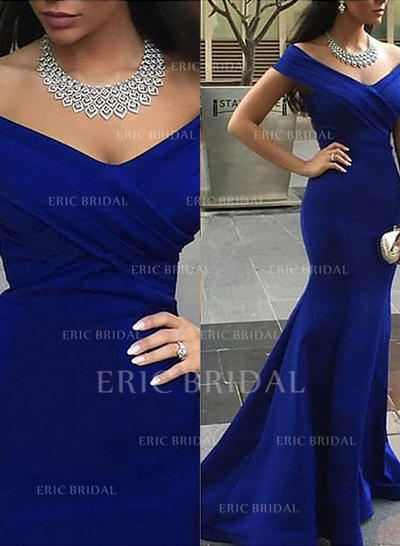 Trumpet/Mermaid Off-the-Shoulder Court Train Evening Dresses (017145496)