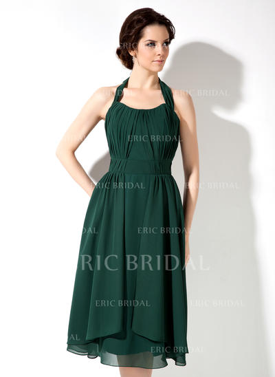 A-Line/Princess Chiffon Bridesmaid Dresses Ruffle Bow(s) Halter Sleeveless Knee-Length (007001892)