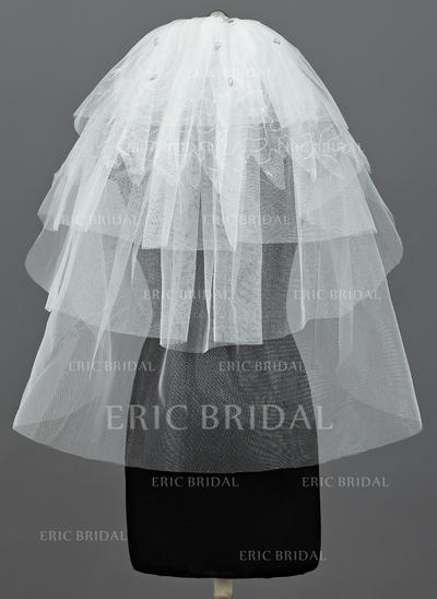 Elbow Bridal Veils Tulle Five-tier Classic With Cut Edge Wedding Veils (006151089)
