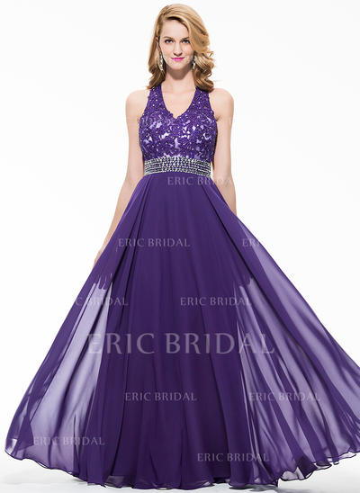 A-Line/Princess Chiffon Prom Dresses Beading Appliques Lace Sequins V-neck Sleeveless Floor-Length (018075898)