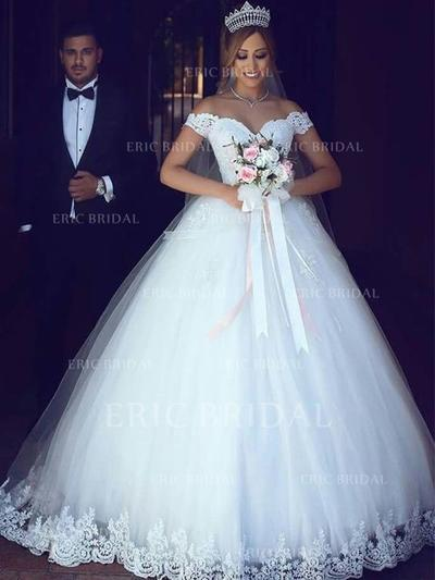 Ball-Gown Off-The-Shoulder Floor-Length Wedding Dresses With Lace (002217842)