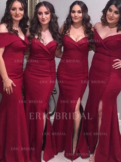 Trumpet/Mermaid Off-the-Shoulder Floor-Length Satin Bridesmaid Dresses With Ruffle Split Front (007217803)