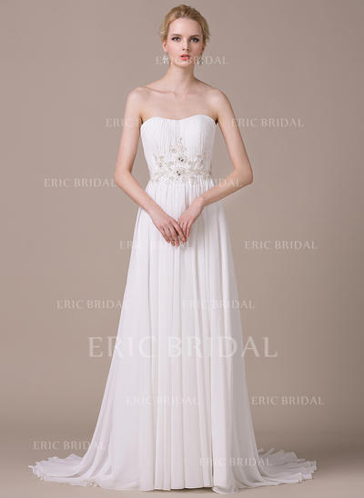 A-Line/Princess Sweetheart Sweep Train Wedding Dresses With Ruffle Lace Beading Sequins (002210612)