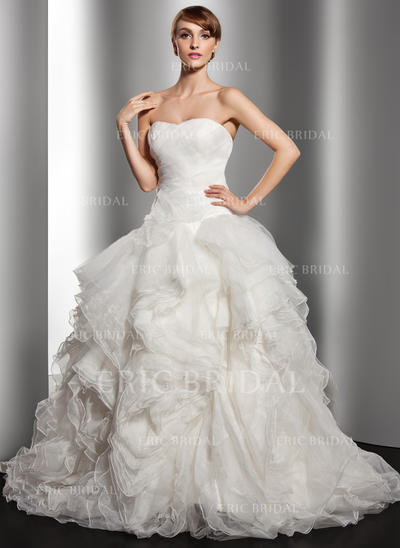 Ball-Gown Sweetheart Court Train Wedding Dresses With Cascading Ruffles (002196886)