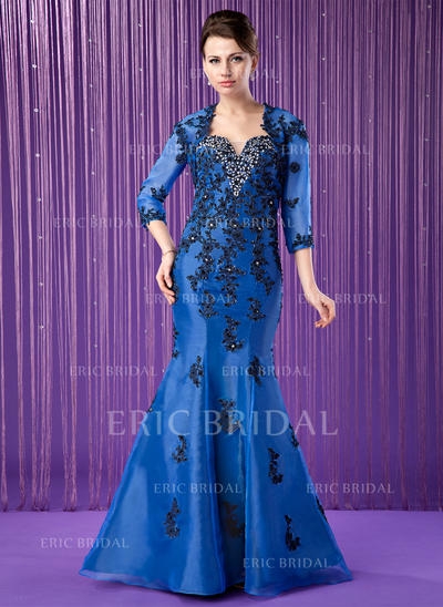 Trumpet/Mermaid Sweetheart Floor-Length Mother of the Bride Dresses With Embroidered Beading (008213163)