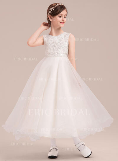 A-Line/Princess Ankle-length Flower Girl Dress - Organza/Satin Sleeveless Scoop Neck With Lace/Sequins (010143265)