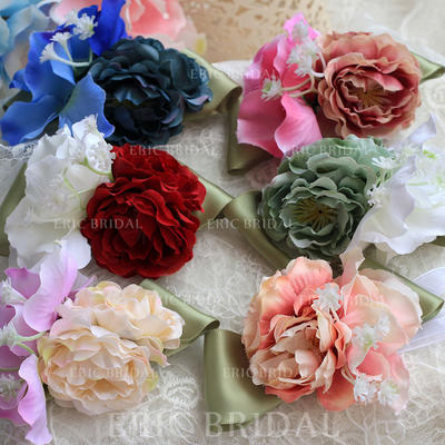 Wrist Corsage Round Wedding Satin The color of embellishments are shown as picture/Color & Style representation may vary by monitor Wedding Flowers (123189084)