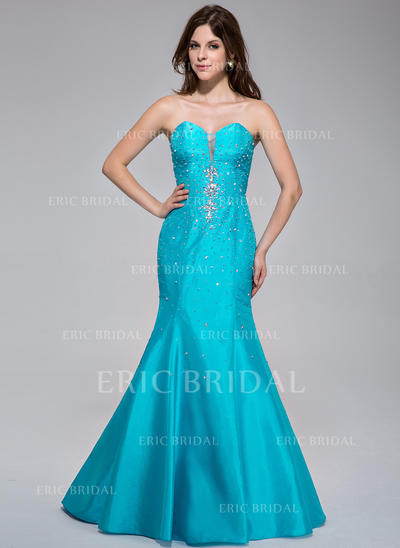 Trumpet/Mermaid Sweetheart Sweep Train Prom Dresses With Beading (018025502)