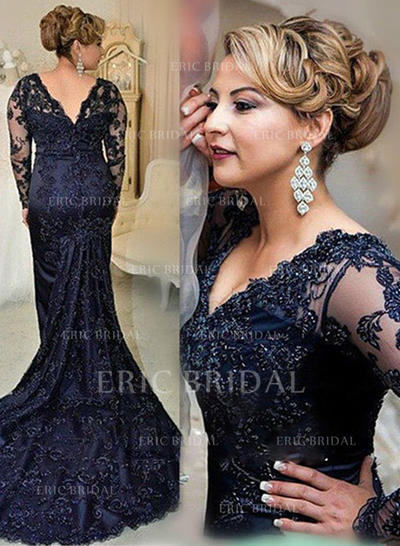 Trumpet/Mermaid Lace Long Sleeves V-neck Court Train Zipper Up Mother of the Bride Dresses (008146304)