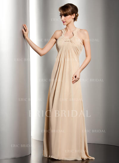 Empire Chiffon Sleeveless Scoop Neck Floor-Length Zipper Up Mother of the Bride Dresses (008211060)