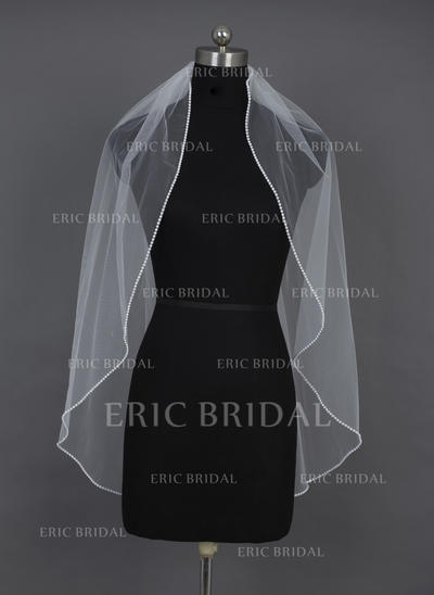 Fingertip Bridal Veils Tulle One-tier Oval/Mantilla With Beaded Edge Wedding Veils (006151029)