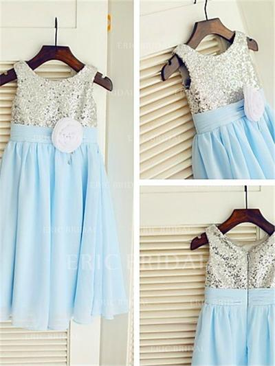 A-Line/Princess Scoop Neck Ankle-length With Flower(s) Chiffon/Sequined Flower Girl Dresses (010212001)