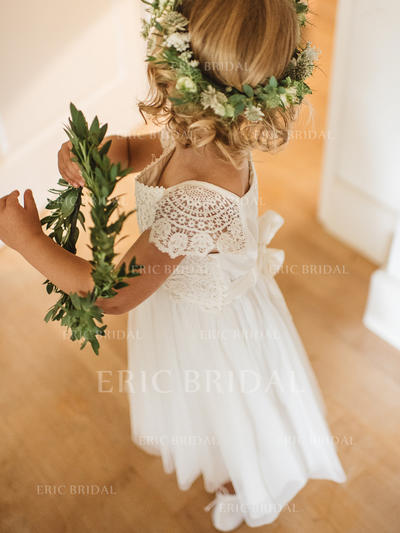 Elegant Square Neckline A-Line/Princess Flower Girl Dresses Ankle-length Chiffon/Lace Short Sleeves (010145249)